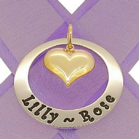 29mm CIRCLE OF LIFE 9CT GOLD LOVE HEART PERSONALISED FAMILY NAME PENDANT