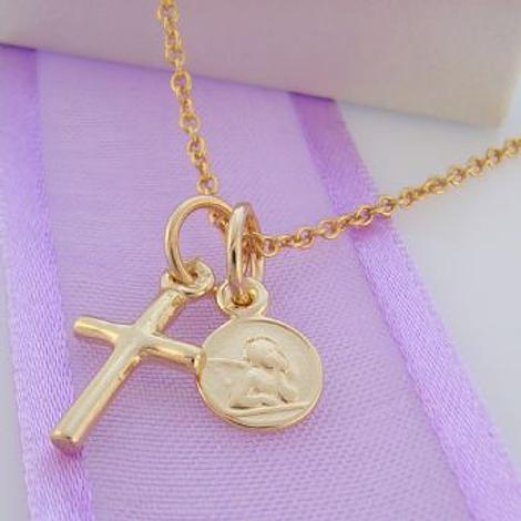 9CT GOLD SMALL ANGEL & CROSS CHARM NECKLACE 45CM