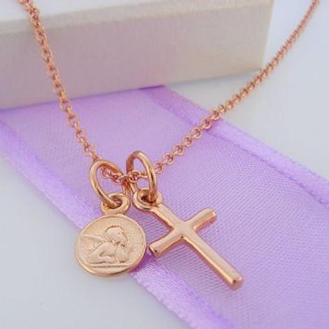9CT ROSE GOLD SMALL ANGEL & CROSS CHARM NECKLACE 45CM
