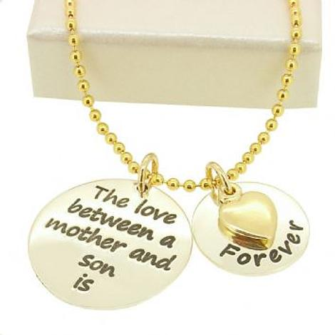 16mm and 22mm Mothers Love MESSAGE COINS 9CT GOLD HEART CHARM PENDANT NECKLACE