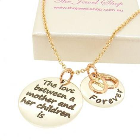 16mm and 22mm Mothers Love MESSAGE COINS 9CT ROSE GOLD INFINITY INFINITE LOVE CHARM PENDANT NECKLACE