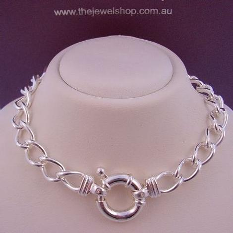 25.5g STERLING SILVER CURB 13mm BOLT RING NECKLACE 45cm