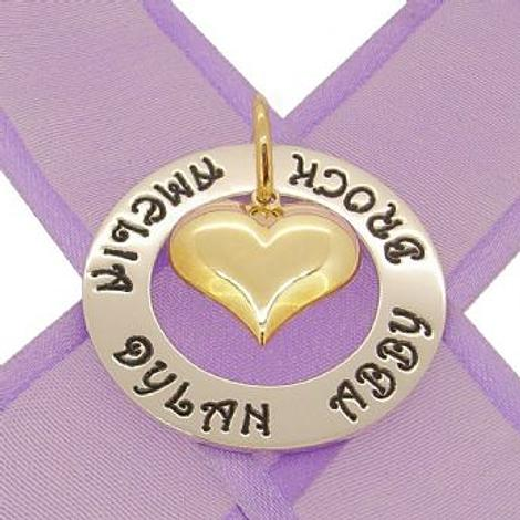 28mm CIRCLE OF LIFE PERSONALISED FAMILY NAME PENDANT 9CT GOLD PUFFED LOVE HEART CHARM