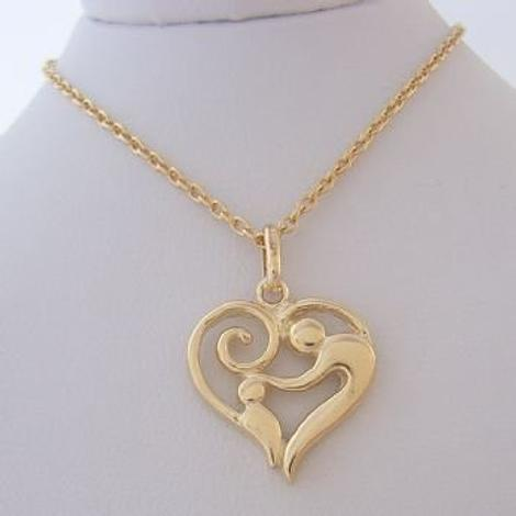 9CT GOLD 16mm MOTHER BABY CHILD CHARM PENDANT NECKLACE