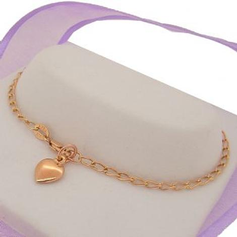 ANKLET 9CT ROSE GOLD HEART CHARM 25cm CURB CHAIN