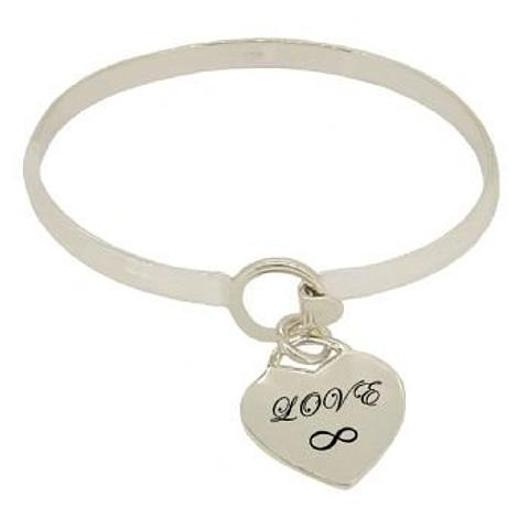 STERLING SILVER 5mm CUFF BANGLE PERSONALISED 19mm LOVE HEART CHARM