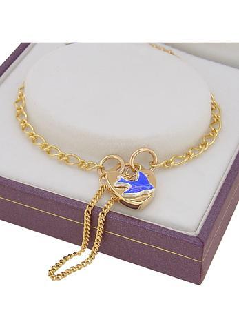 Bluebird of Happiness Figaro Curb Padlock Charm Bracelet 9ct Gold