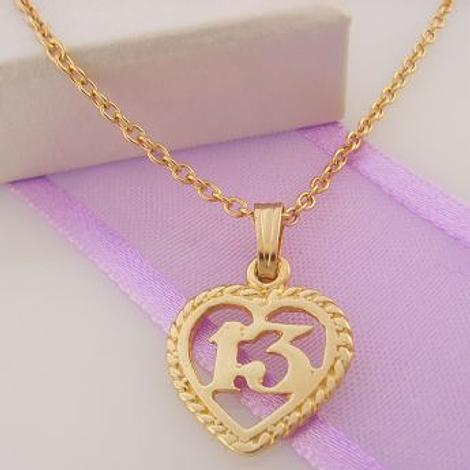 9CT GOLD 14mm 13 13TH BIRTHDAY LOVE HEART CHARM NECKLACE 45CM