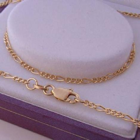 55CM 9CT GOLD UNISEX 1.7mm FIGARO CURB NECKLACE CHAIN