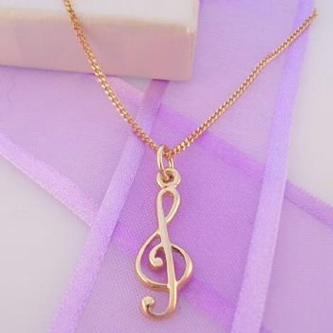 9CT GOLD MUSIC TREBLE NOTE CHARM NECKLACE