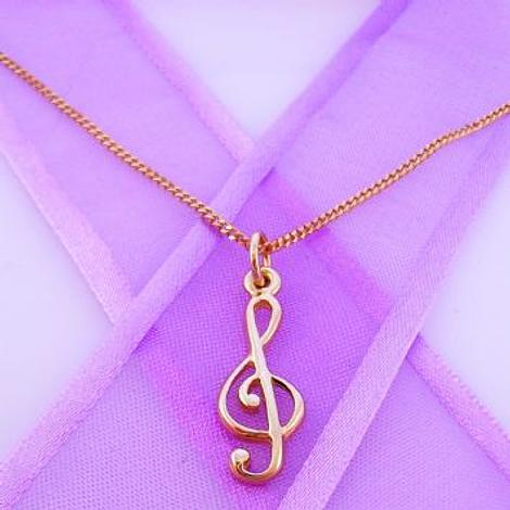 9CT ROSE GOLD MUSIC TREBLE NOTE CHARM NECKLACE