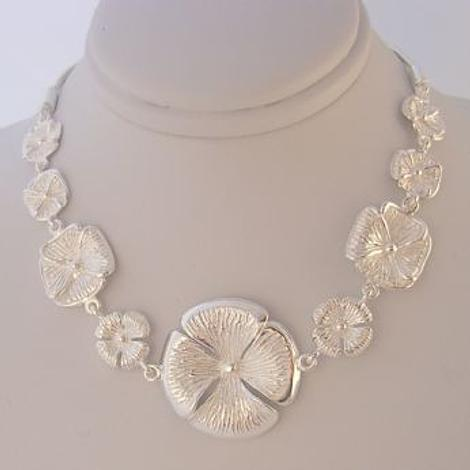 PASTICHE STERLING SILVER 25mm FLOWER CHARM NECKLACE