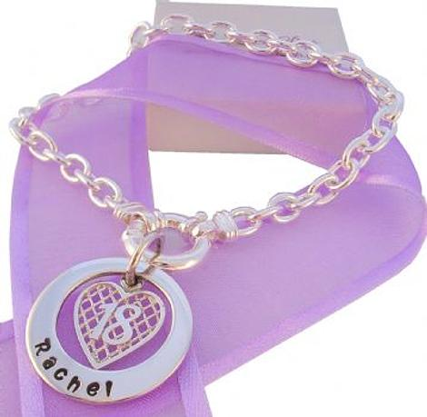 25mm PERSONALISED CIRCLE OF LIFE 18th BIRTHDAY HEART CABLE BRACELET
