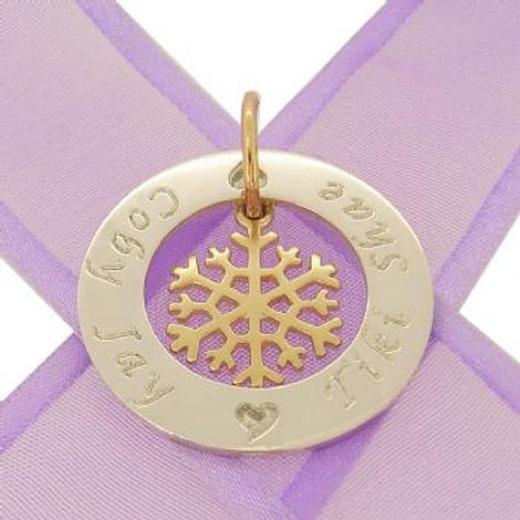 28mm CIRCLE OF LIFE PERSONALISED FAMILY NAME PENDANT & 9CT GOLD 15mm SNOWFLAKE CHARM -28mm-KB92-9y