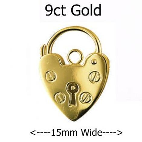 9CT YELLOW GOLD 15mm PLAIN HEART PADLOCK CLASP -FINDING_9CT_P15_15mm