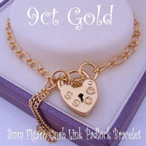 9CT GOLD FIGARO CURB PADLOCK BRACELET