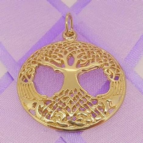SOLID 9CT YELLOW GOLD 27mm CELTIC TREE OF LIFE CHARM PENDANT - 9Y_HRKB121