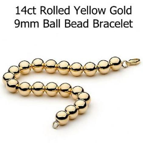14CT ROLLED GOLD 9mm BALL BEAD BRACELET