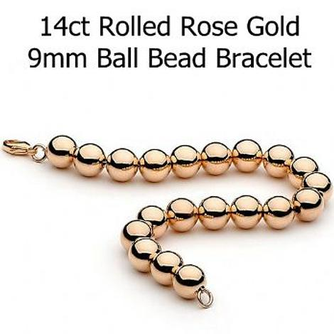 14CT ROLLED ROSE GOLD 9mm BALL BEAD BRACELET