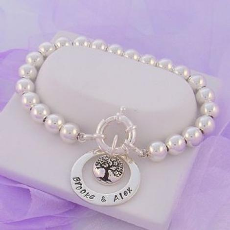 23mm CIRCLE PERSONALISED NAME PENDANT 12mm TREE OF LIFE CHARM 8mm STERLING SILVER BALL BRACELET
