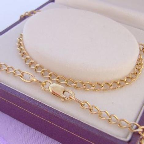 45CM 9CT GOLD 3mm CURB NECKLACE CHAIN 4.7g