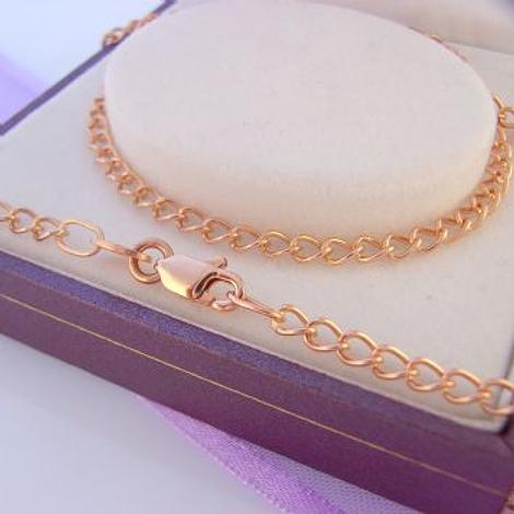 45CM 9CT ROSE GOLD 2.9mm CURB NECKLACE CHAIN 4.7g