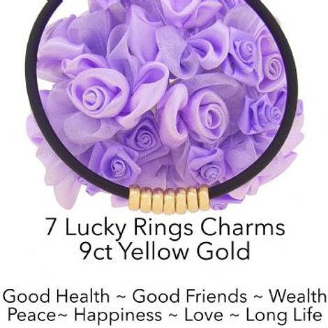 9CT GOLD 7 SEVEN LUCKY RINGS CHARM NEOPRENE NECKLACE