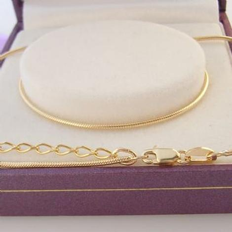 9CT YELLOW GOLD 1mm SNAKE RATSTAIL NECKLACE CHAIN 40cm with 6cm EXTENSION CHAIN