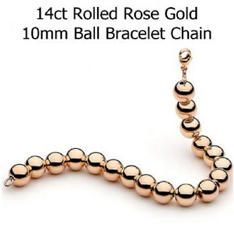 14CT ROLLED ROSE GOLD 10mm BALL BEAD BRACELET
