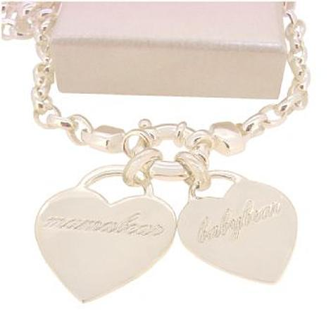 22mm and 19mm PERSONALISED LOVE HEART NAME PENDANT OVAL BELCHER NECKLACE