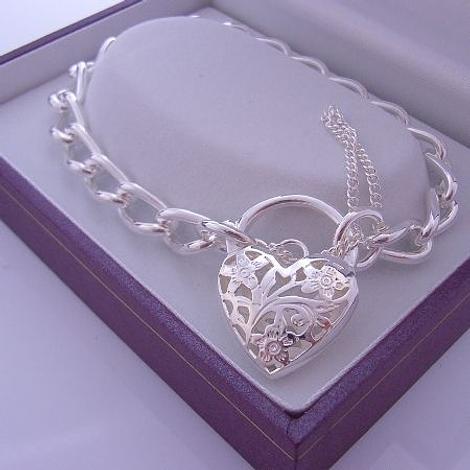 STERLING SILVER LARGE CURB HEART PADLOCK BRACELET 19cm