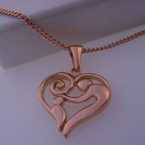 9CT ROSE GOLD 16mm MOTHER BABY CHARM PENDANT NECKLACE