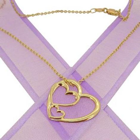 9CT GOLD TRILOGY OF HEARTS CHARM NECKLACE