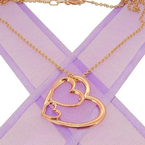 9CT ROSE GOLD TRILOGY OF HEARTS CHARM NECKLACE
