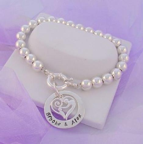 25mm CIRCLE PERSONALISED NAME PENDANT MOTHER BABY CHILD CHARM 10mm STERLING SILVER BALL BRACELET