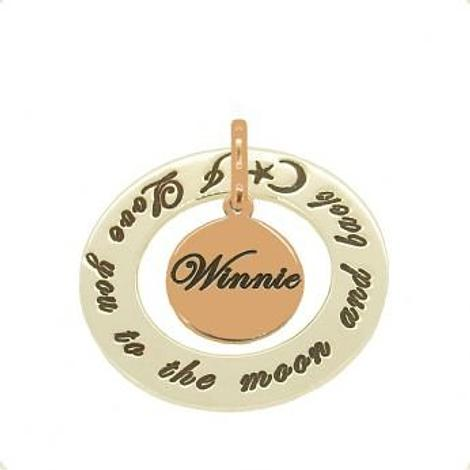 PERSONALISED NAME PENDANT 12mm 9CT ROSE GOLD COIN 28mm CIRCLE OF LIFE