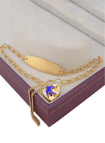 9CT GOLD IDENTITY BLUEBIRD PADLOCK BRACELET