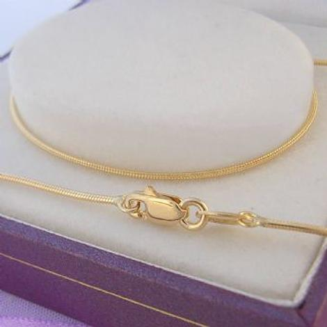 9CT YELLOW GOLD 1.2mm SNAKE NECKLACE CHAIN 45cm