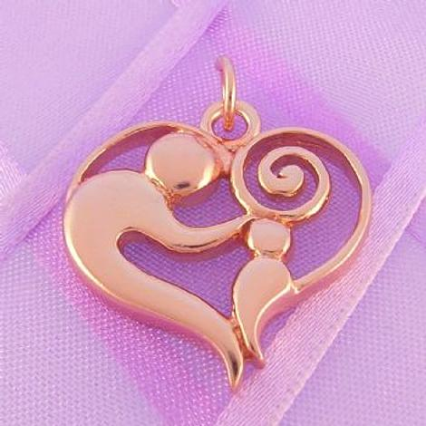 SOLID 23mm 9CT ROSE GOLD MOTHER BABY CHILD CHARM PENDANT - 9R_HRKB69