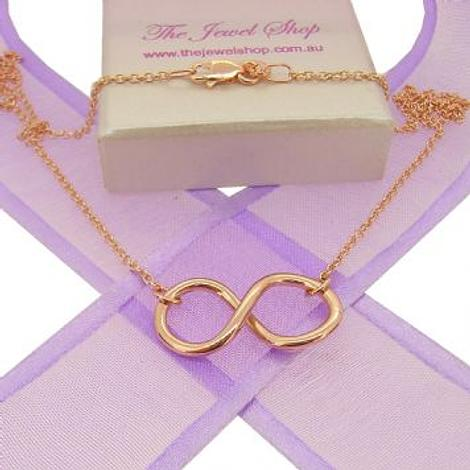 9CT ROSE GOLD INFINITY SYMBOL DESIGN CHARM PENDANT NECKLACE