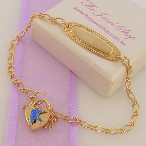 9ct Gold Identity with Bluebird of Happiness Figaro Curb Padlock Charm Bracelet