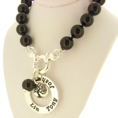 25mm PERSONALISED12mm TREE OF LIFE NAME PENDANT 8mm BLACK ONYX BOLT RING NECKLACE -BLET-25mm-54-706-10583-8mmBlkOnyx