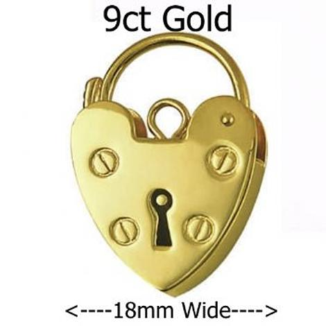 9CT YELLOW GOLD 18mm PLAIN HEART PADLOCK CLASP -FINDING_9CT_P15_18mm