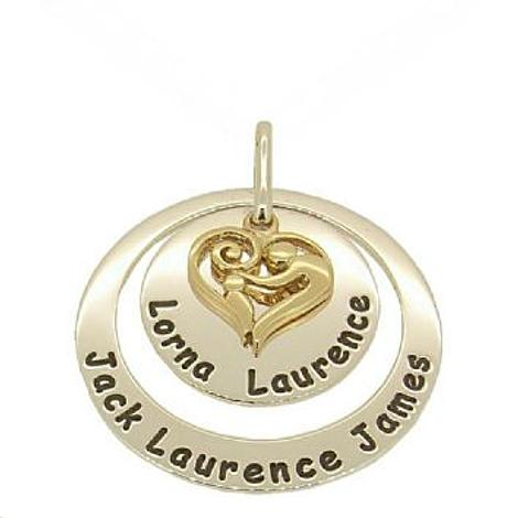25mm ROUND 38mm CIRCLE OF LIFE PERSONALISED MOTHER BABY CHILD PENDANT