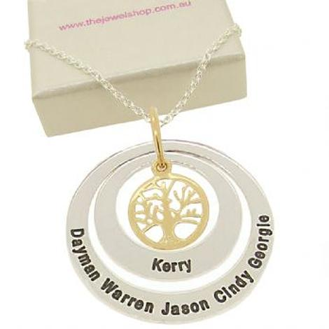 27mm & 38mm CIRCLE OF LIFE PERSONALISED TREE OF LIFE NAME PENDANT
