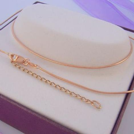 9CT ROSE GOLD SNAKE RATS TAIL NECKLACE 45cm-50cm