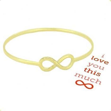 SOLID 9CT GOLD NEVER ENDING LOVE INFINITY SYMBOL DESIGN FOREVER BANGLE