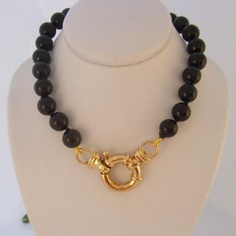 6mm BLACK ONYX 9ct GOLD BOLT RING NECKLACE -NLET-6mmBlkOnyx-9Y