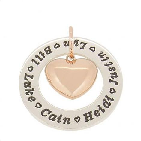 35mm CIRCLE OF LIFE PERSONALISED FAMILY NAME PENDANT 9CT ROSE GOLD PUFFED LOVE HEART CHARM