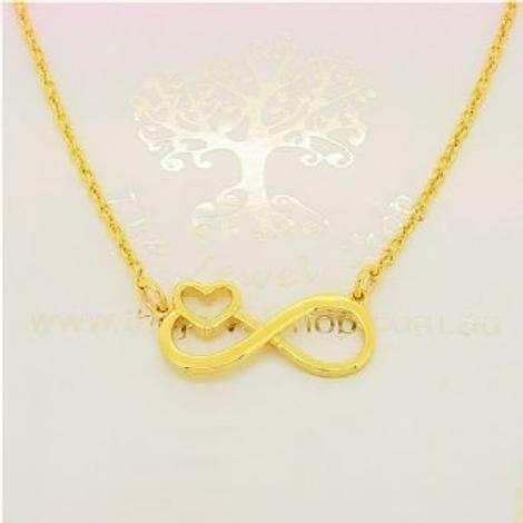 SOLID 9CT GOLD INFINITE LOVE INFINITY HEART CHARM NECKLACE